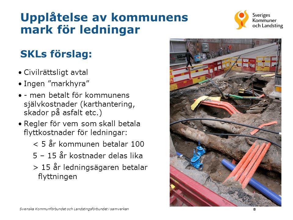 """Svenska Kommunförbundet och Landstingsförbundet i samverkan 8 Upplåtelse av kommunens mark för ledningar SKLs förslag: •Civilrättsligt avtal •Ingen """"m"""
