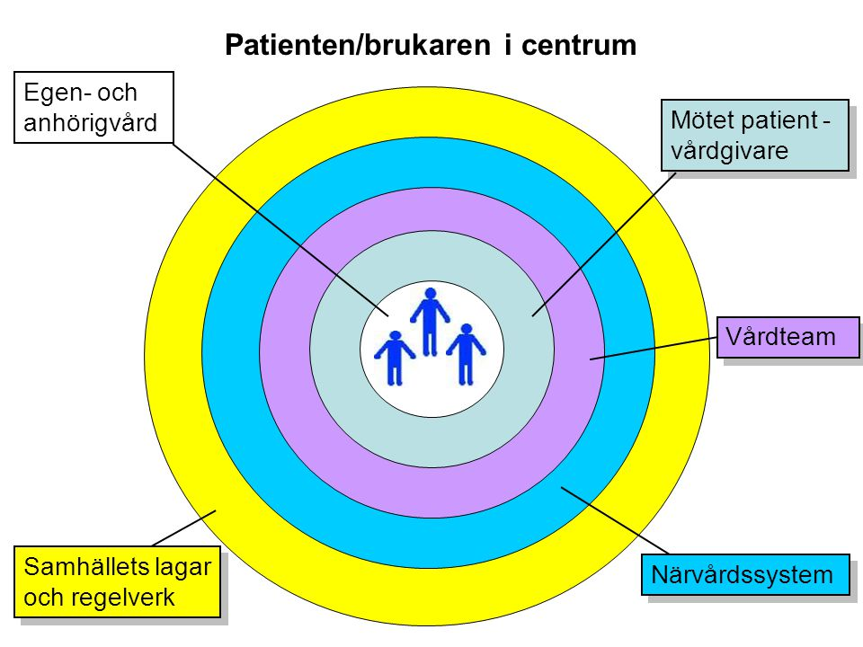 Patienten/brukaren i centrum Egen- och anhörigvård Mötet patient - vårdgivare Mötet patient - vårdgivare Vårdteam Närvårdssystem Samhällets lagar och