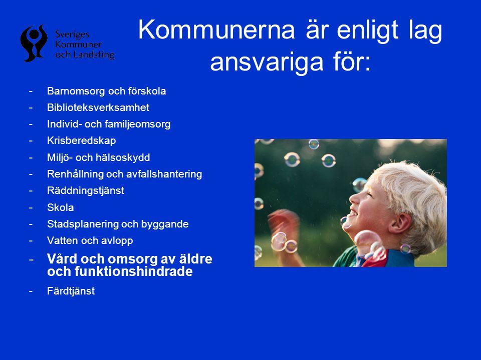 Kommunerna är enligt lag ansvariga för: -Barnomsorg och förskola -Biblioteksverksamhet -Individ- och familjeomsorg -Krisberedskap -Miljö- och hälsosky