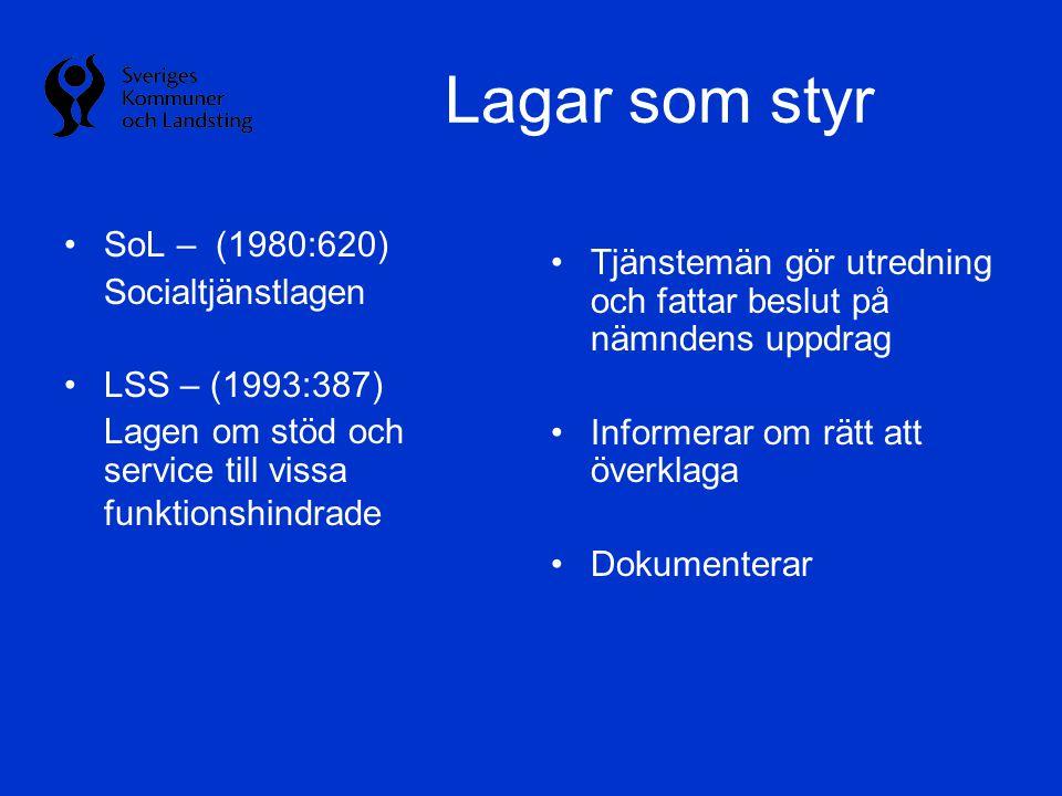 Lagar som styr •SoL – (1980:620) Socialtjänstlagen •LSS – (1993:387) Lagen om stöd och service till vissa funktionshindrade •Tjänstemän gör utredning