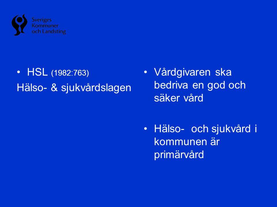 •HSL (1982:763) Hälso- & sjukvårdslagen •Vårdgivaren ska bedriva en god och säker vård •Hälso- och sjukvård i kommunen är primärvård