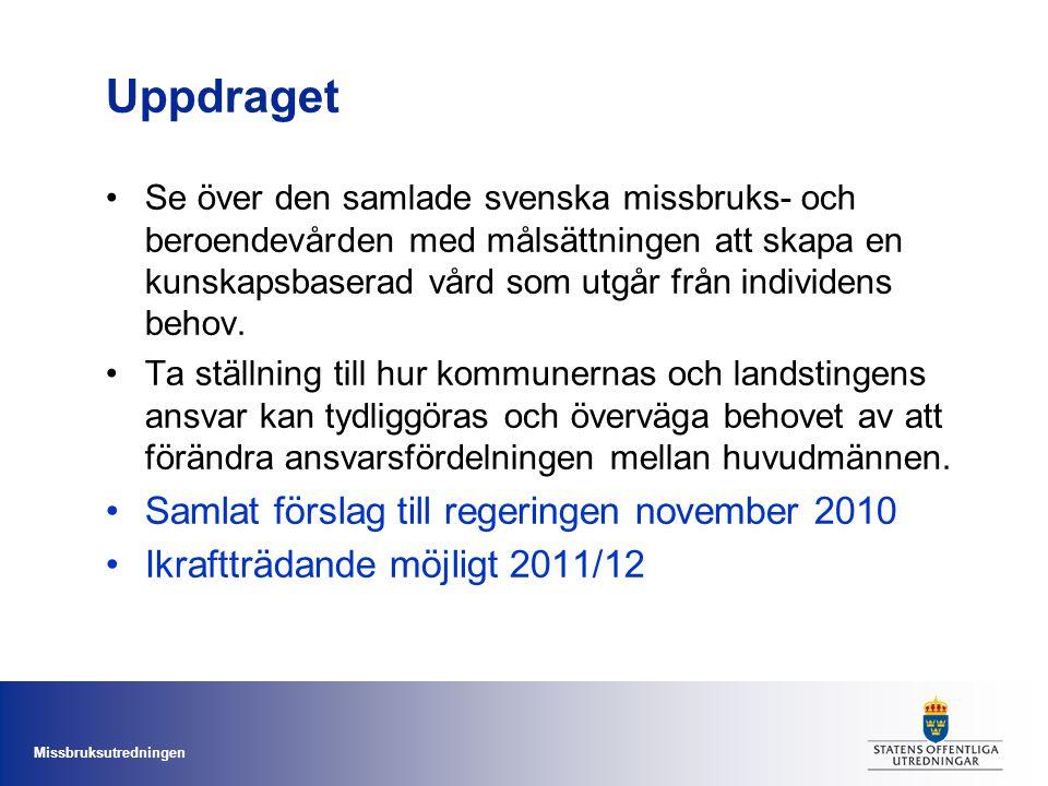 Missbruksutredningen Uppdraget •Se över den samlade svenska missbruks- och beroendevården med målsättningen att skapa en kunskapsbaserad vård som utgå