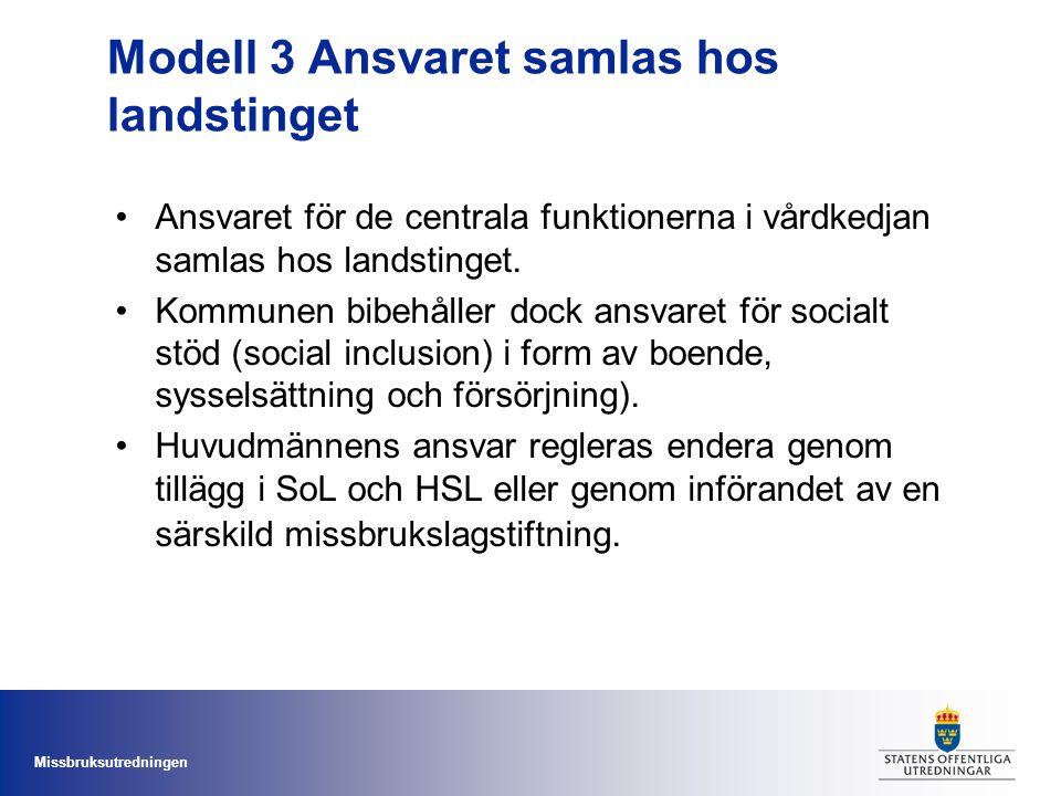 Missbruksutredningen Modell 3 Ansvaret samlas hos landstinget •Ansvaret för de centrala funktionerna i vårdkedjan samlas hos landstinget. •Kommunen bi