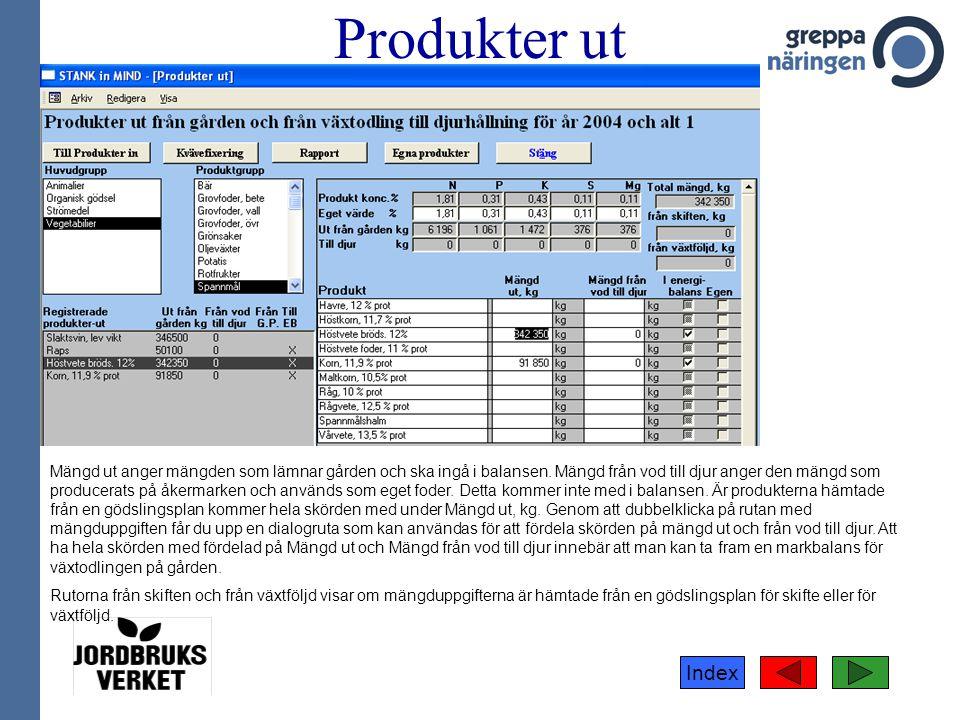 Index Produkter ut Mängd ut anger mängden som lämnar gården och ska ingå i balansen. Mängd från vod till djur anger den mängd som producerats på åkerm