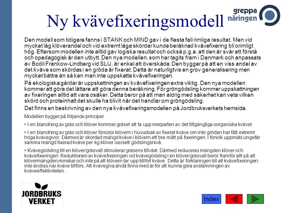 Index Ny kvävefixeringsmodell Den modell som tidigare fanns i STANK och MIND gav i de flesta fall rimliga resultat. Men vid mycket låg klöverandel och
