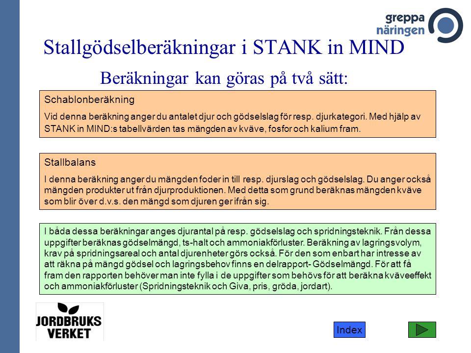 Index Stallgödselberäkningar i STANK in MIND Beräkningar kan göras på två sätt: Schablonberäkning Vid denna beräkning anger du antalet djur och gödsel