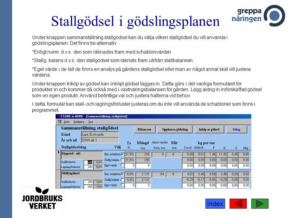 Index Stallgödsel i gödslingsplanen Under knappen sammanställning stallgödsel kan du välja vilken stallgödsel du vill använda i gödslingsplanen. Det f