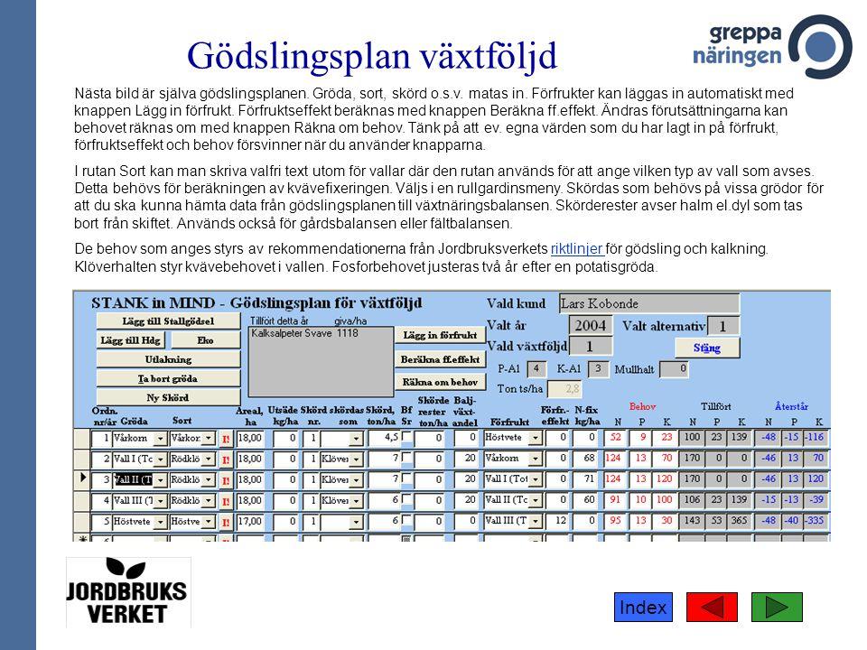 Index Gödslingsplan växtföljd Nästa bild är själva gödslingsplanen. Gröda, sort, skörd o.s.v. matas in. Förfrukter kan läggas in automatiskt med knapp