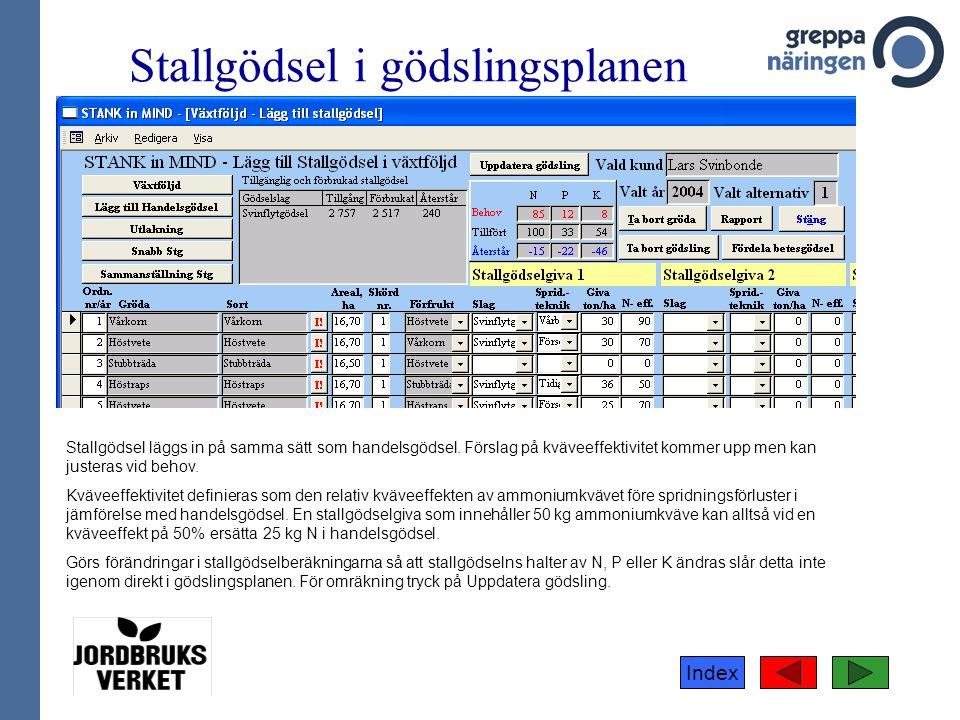 Index Stallgödsel i gödslingsplanen Stallgödsel läggs in på samma sätt som handelsgödsel. Förslag på kväveeffektivitet kommer upp men kan justeras vid