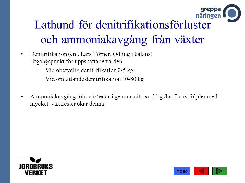 Index •Denitrifikation (enl. Lars Törner, Odling i balans) Utgångspunkt för uppskattade värden Vid obetydlig denitrifikation 0-5 kg Vid omfattande den