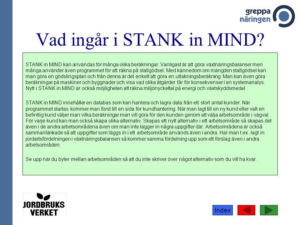 Index Vad ingår i STANK in MIND? STANK in MIND kan användas för många olika beräkningar. Vanligast är att göra växtnäringsbalanser men många använder