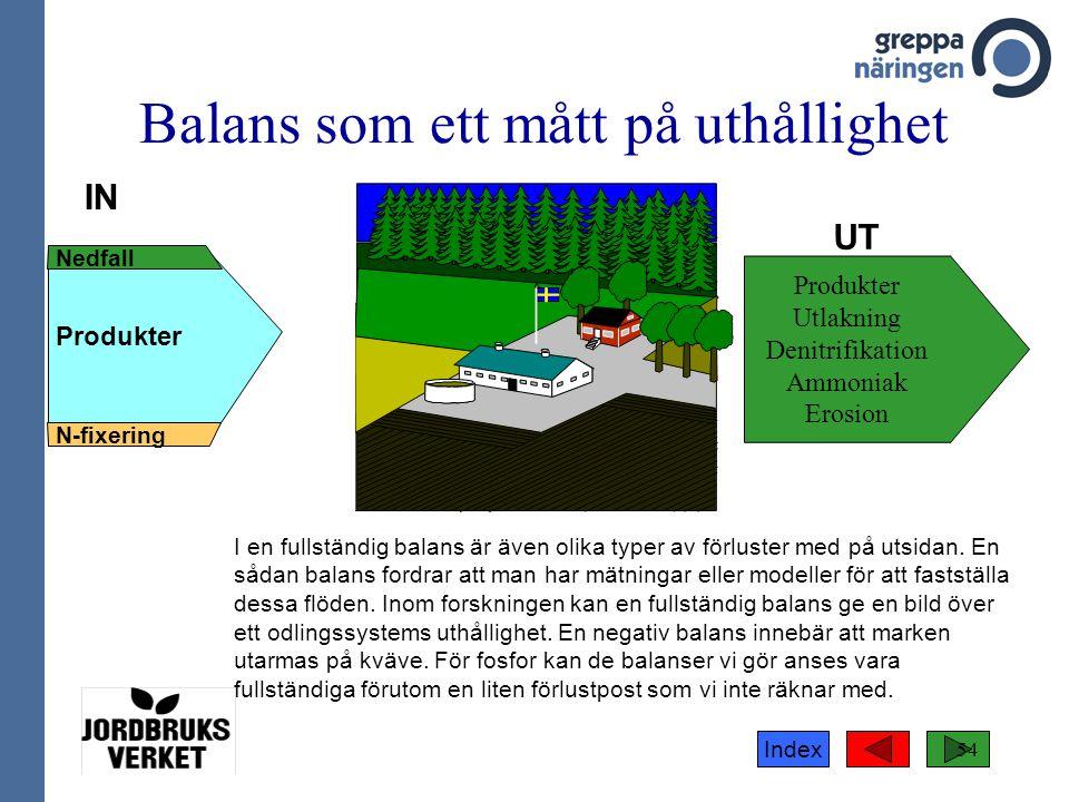 Index 54 IN Nedfall N-fixering Produkter UT Balans som ett mått på uthållighet Produkter Utlakning Denitrifikation Ammoniak Erosion I en fullständig b