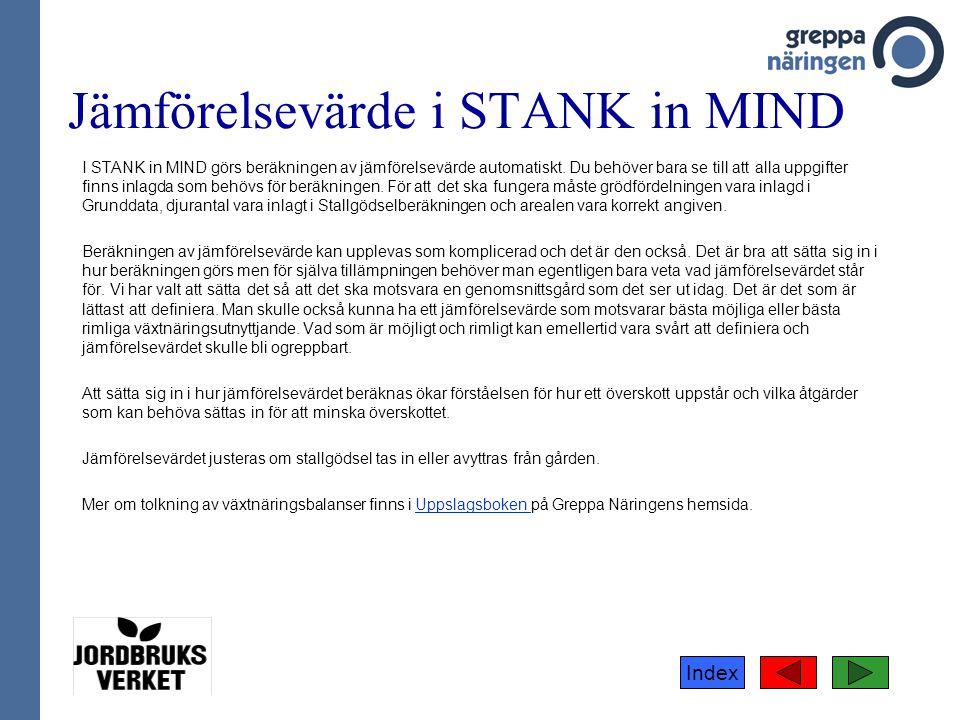 Index Jämförelsevärde i STANK in MIND I STANK in MIND görs beräkningen av jämförelsevärde automatiskt. Du behöver bara se till att alla uppgifter finn
