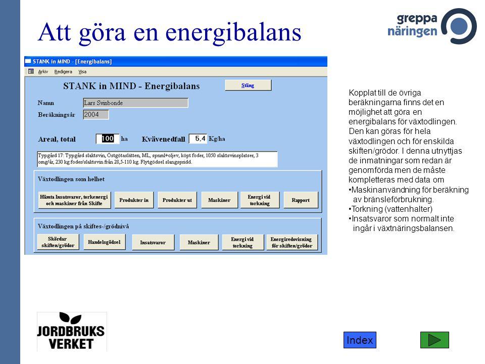 Index Att göra en energibalans Kopplat till de övriga beräkningarna finns det en möjlighet att göra en energibalans för växtodlingen. Den kan göras fö