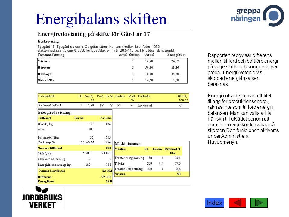 Index Energibalans skiften Rapporten redovisar differens mellan tillförd och bortförd energi på varje skifte och summerat per gröda. Energikvoten d.v.