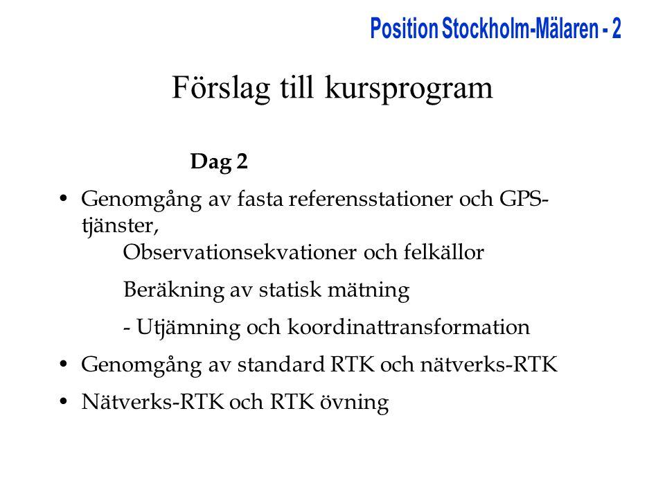 Förslag till kursprogram Dag 2 •Genomgång av fasta referensstationer och GPS- tjänster, Observationsekvationer och felkällor Beräkning av statisk mätning - Utjämning och koordinattransformation •Genomgång av standard RTK och nätverks-RTK •Nätverks-RTK och RTK övning