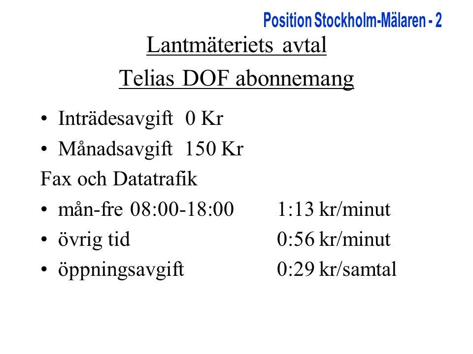 Lantmäteriets avtal Telias DOF abonnemang •Inträdesavgift 0 Kr •Månadsavgift 150 Kr Fax och Datatrafik •mån-fre 08:00-18:001:13 kr/minut •övrig tid0:56 kr/minut •öppningsavgift 0:29 kr/samtal