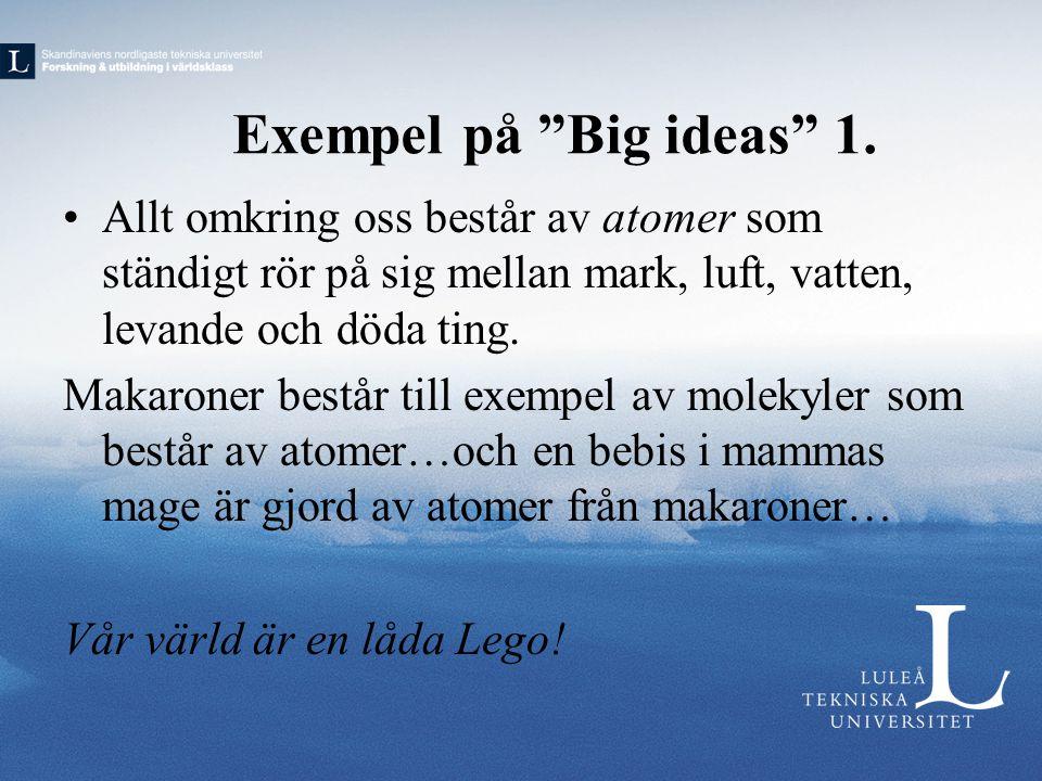 """Exempel på """"Big ideas"""" 1. •Allt omkring oss består av atomer som ständigt rör på sig mellan mark, luft, vatten, levande och döda ting. Makaroner bestå"""