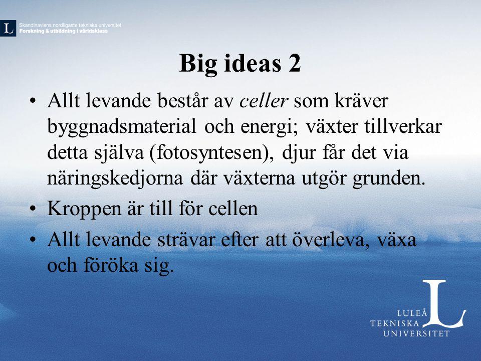 Big ideas 2 •Allt levande består av celler som kräver byggnadsmaterial och energi; växter tillverkar detta själva (fotosyntesen), djur får det via när