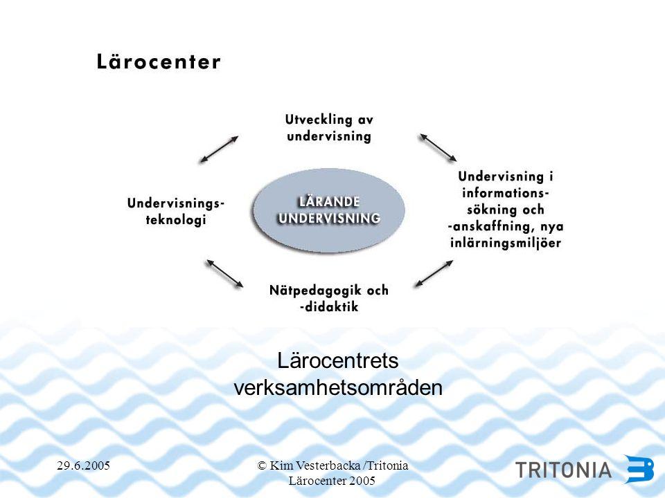 29.6.2005© Kim Vesterbacka /Tritonia Lärocenter 2005 Lärocentrets verksamhetsområden