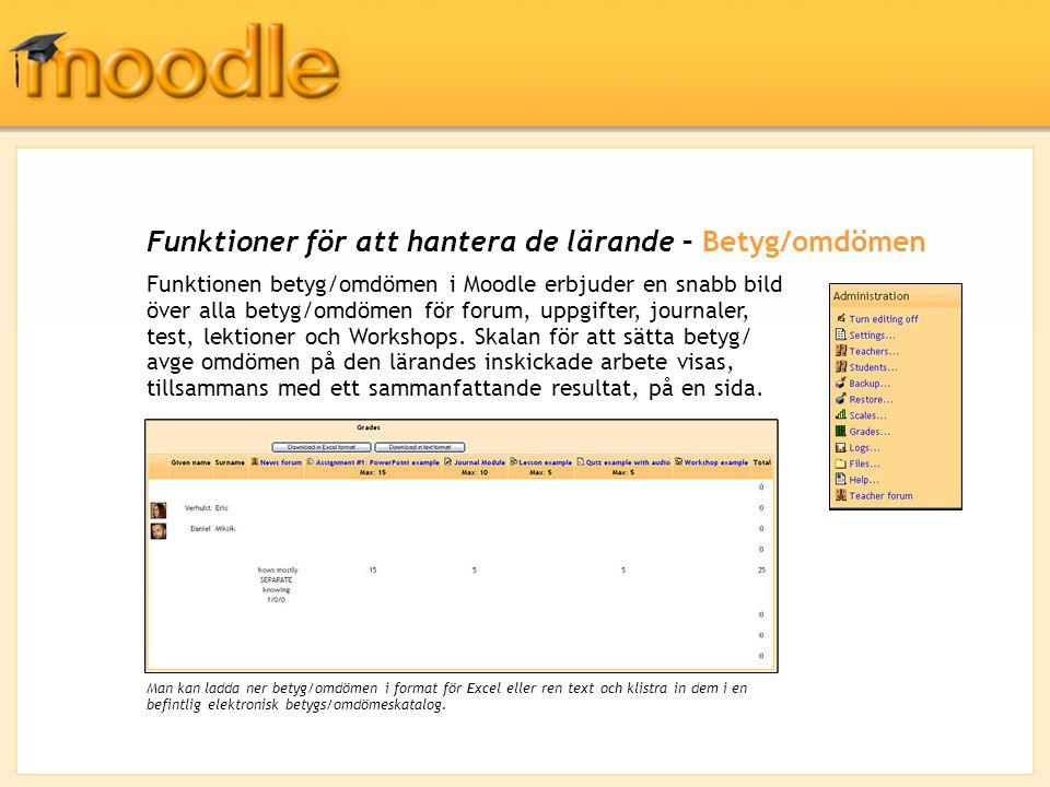Funktioner för att hantera de lärande – Betyg/omdömen Funktionen betyg/omdömen i Moodle erbjuder en snabb bild över alla betyg/omdömen för forum, uppgifter, journaler, test, lektioner och Workshops.