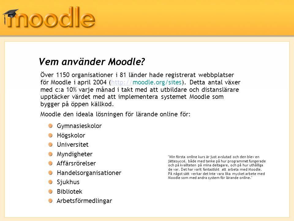 Över 1150 organisationer i 81 länder hade registrerat webbplatser för Moodle i april 2004 (http://moodle.org/sites). Detta antal växer med c:a 10% var