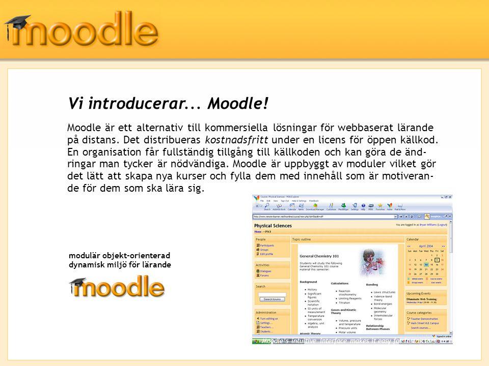 Moodles arkitektur Aktiviteter är själva kärnan i ett system för att hantera kurser.