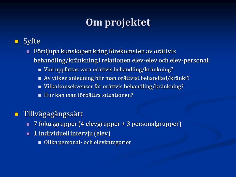 Om projektet  Syfte  Fördjupa kunskapen kring förekomsten av orättvis behandling/kränkning i relationen elev-elev och elev-personal:  Vad uppfattas