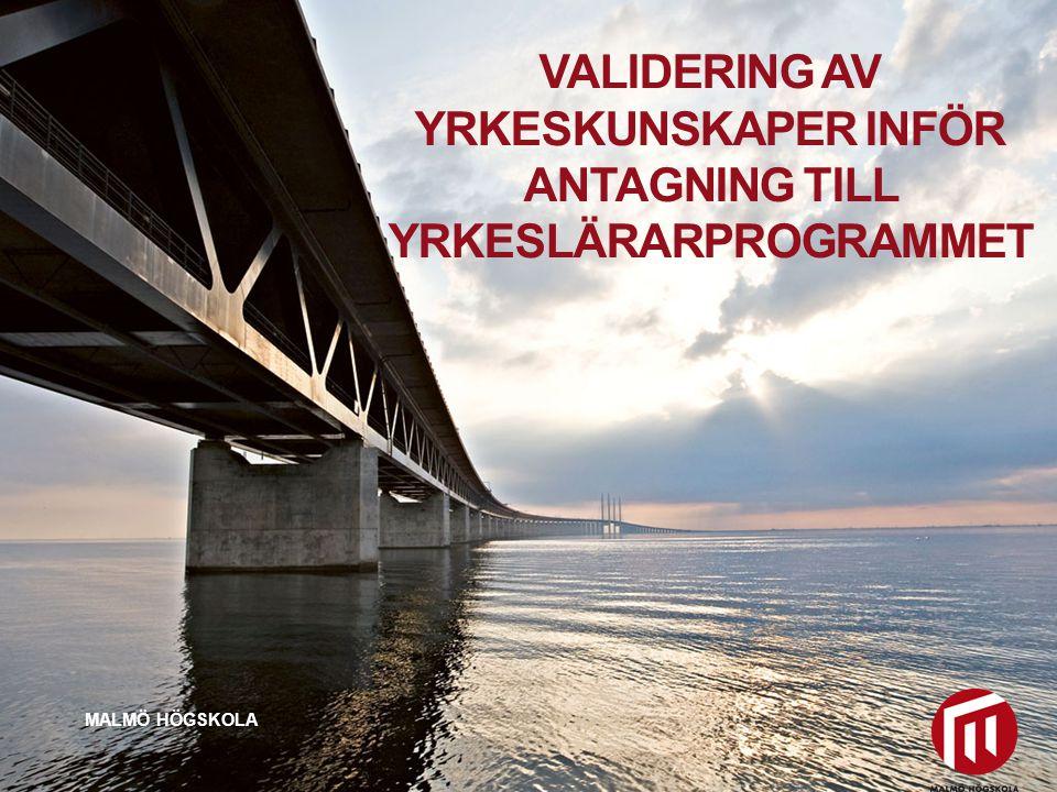 2010 05 04 VALIDERING AV YRKESKUNSKAPER INFÖR ANTAGNING TILL YRKESLÄRARPROGRAMMET MALMÖ HÖGSKOLA