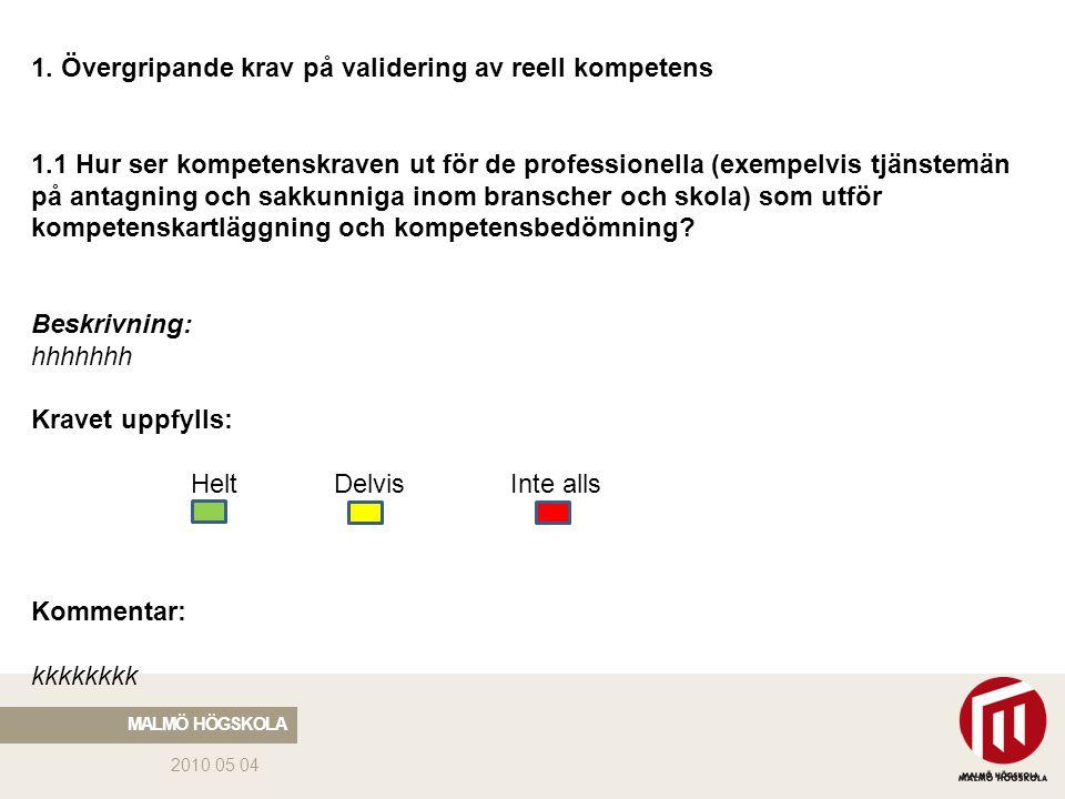 2010 05 04 MALMÖ HÖGSKOLA 1. Övergripande krav på validering av reell kompetens 1.1 Hur ser kompetenskraven ut för de professionella (exempelvis tjäns