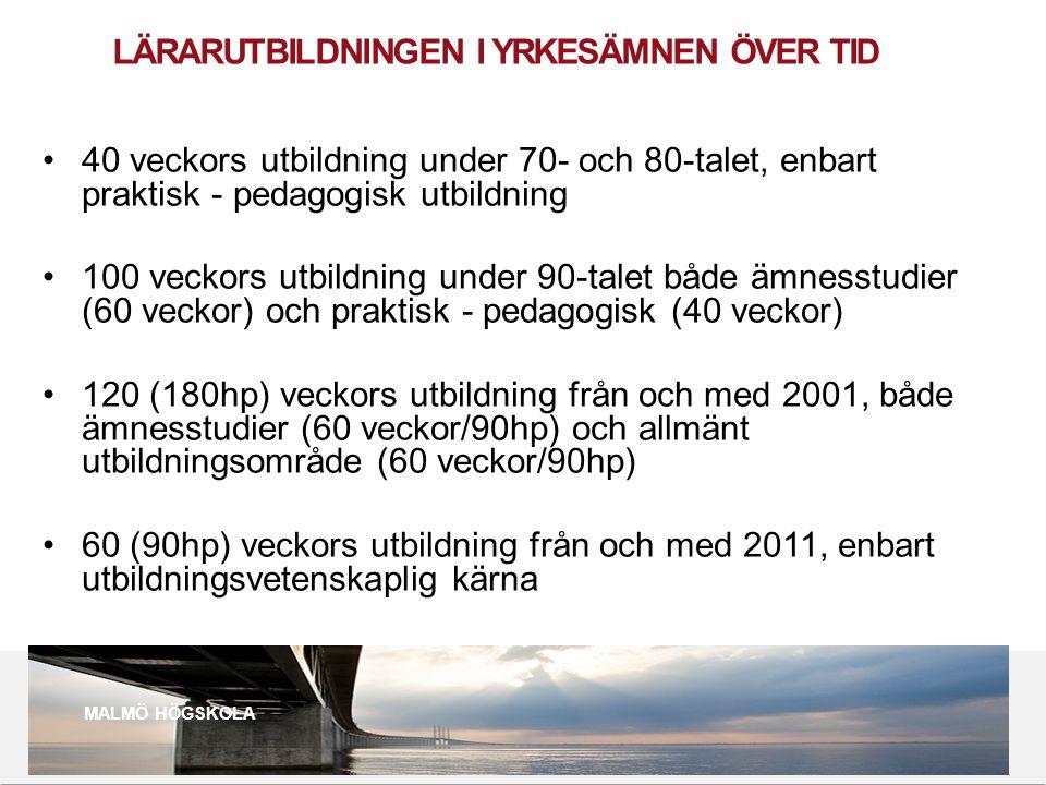 2010 05 04 LÄRARUTBILDNINGEN I YRKESÄMNEN ÖVER TID •40 veckors utbildning under 70- och 80-talet, enbart praktisk - pedagogisk utbildning •100 veckors