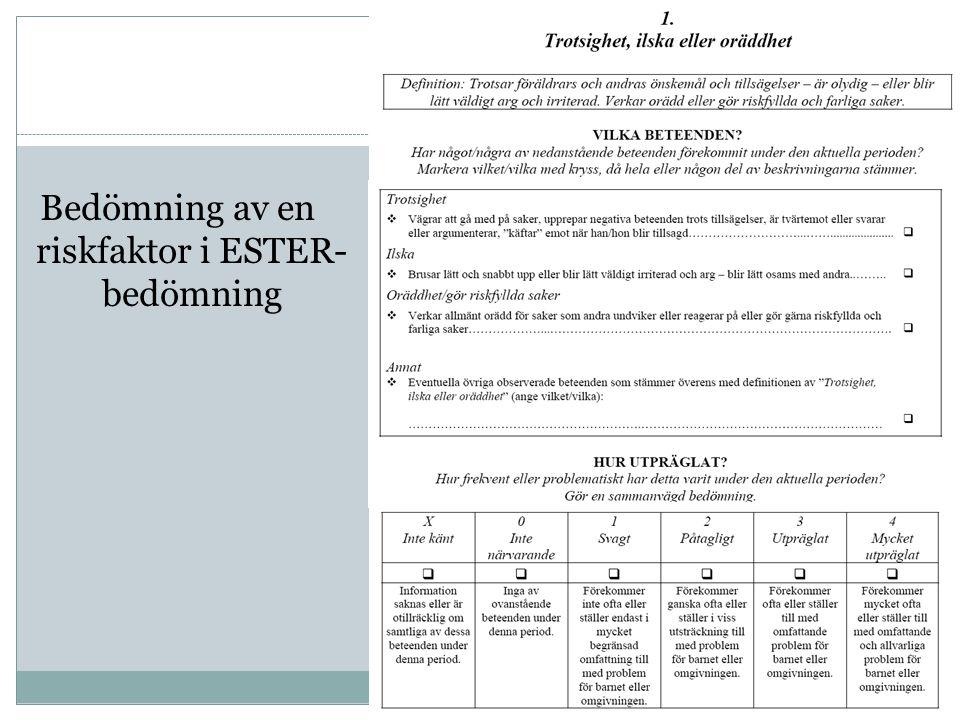 Bedömning av en riskfaktor i ESTER- bedömning