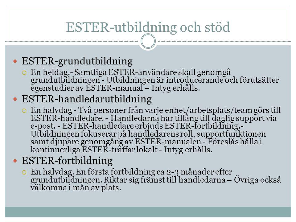 ESTER-utbildning och stöd  ESTER-grundutbildning  En heldag.- Samtliga ESTER-användare skall genomgå grundutbildningen - Utbildningen är introducerande och förutsätter egenstudier av ESTER-manual – Intyg erhålls.