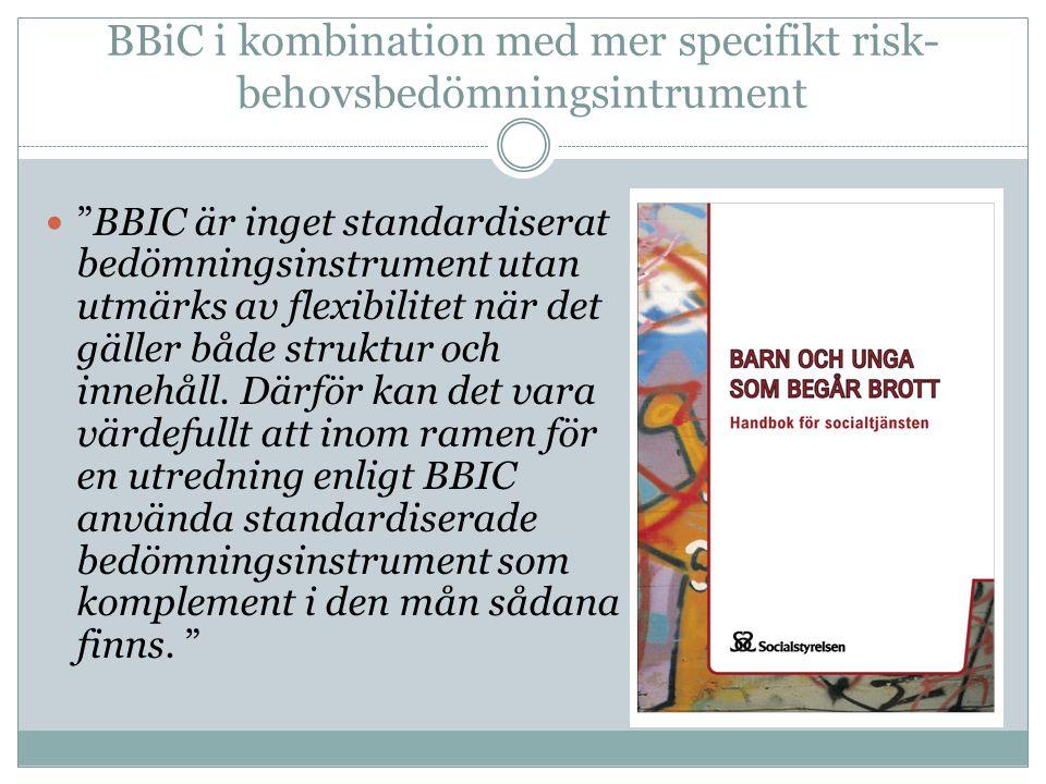 BBiC i kombination med mer specifikt risk- behovsbedömningsintrument  BBIC är inget standardiserat bedömningsinstrument utan utmärks av flexibilitet när det gäller både struktur och innehåll.