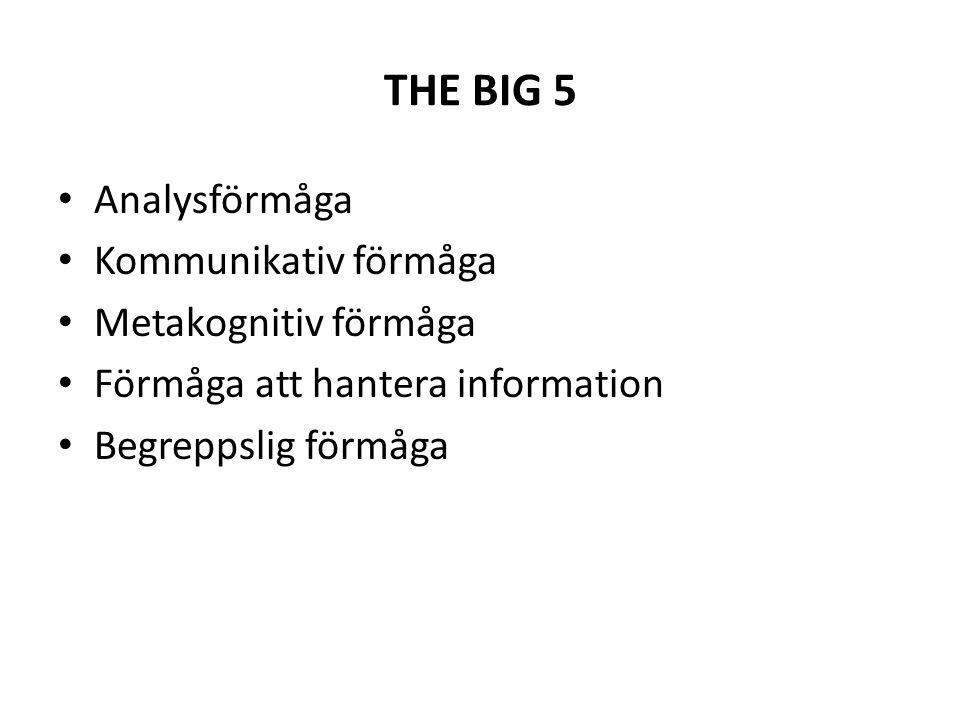 THE BIG 5 • Analysförmåga • Kommunikativ förmåga • Metakognitiv förmåga • Förmåga att hantera information • Begreppslig förmåga