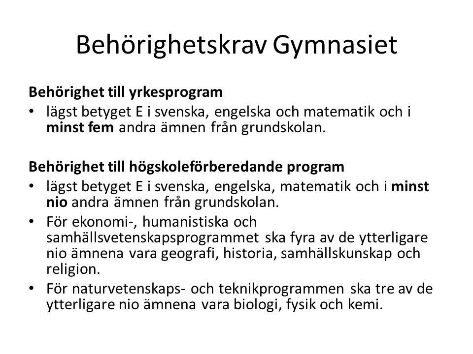 Behörighetskrav Gymnasiet Behörighet till yrkesprogram • lägst betyget E i svenska, engelska och matematik och i minst fem andra ämnen från grundskola