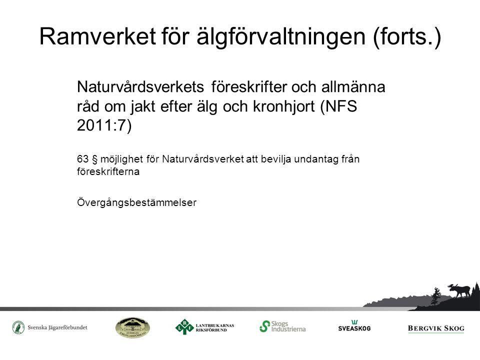 Ramverket för älgförvaltningen (forts.) Naturvårdsverkets föreskrifter och allmänna råd om jakt efter älg och kronhjort (NFS 2011:7) 63 § möjlighet fö