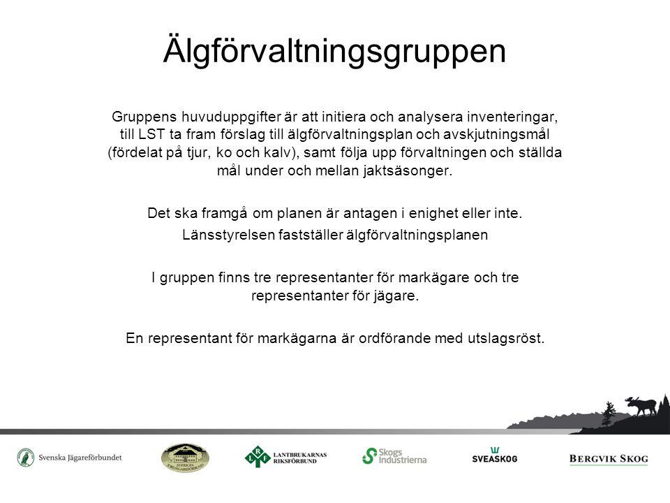 Älgförvaltningsgruppen (forts.) Länsstyrelsen utser representanter och ordförande efter förslag från parterna, där respektive organisation nominerar sina ledamöter I Norrbottens, Västerbottens och Jämtlands län ska en av de som representerar jaktintresset utses av Sametinget.