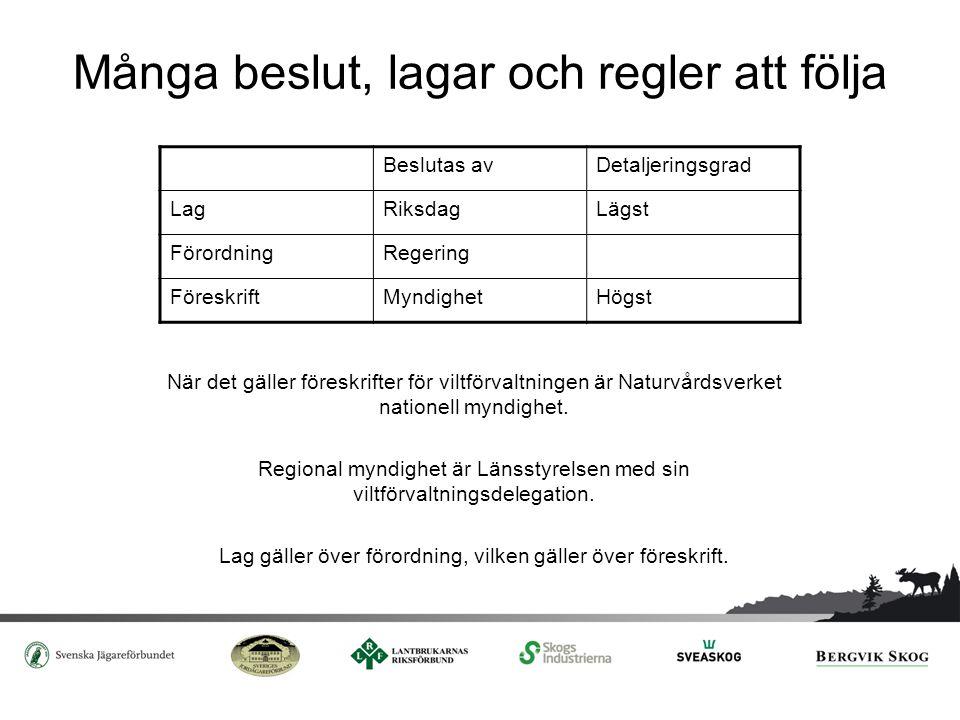 Många beslut, lagar och regler att följa När det gäller föreskrifter för viltförvaltningen är Naturvårdsverket nationell myndighet. Regional myndighet
