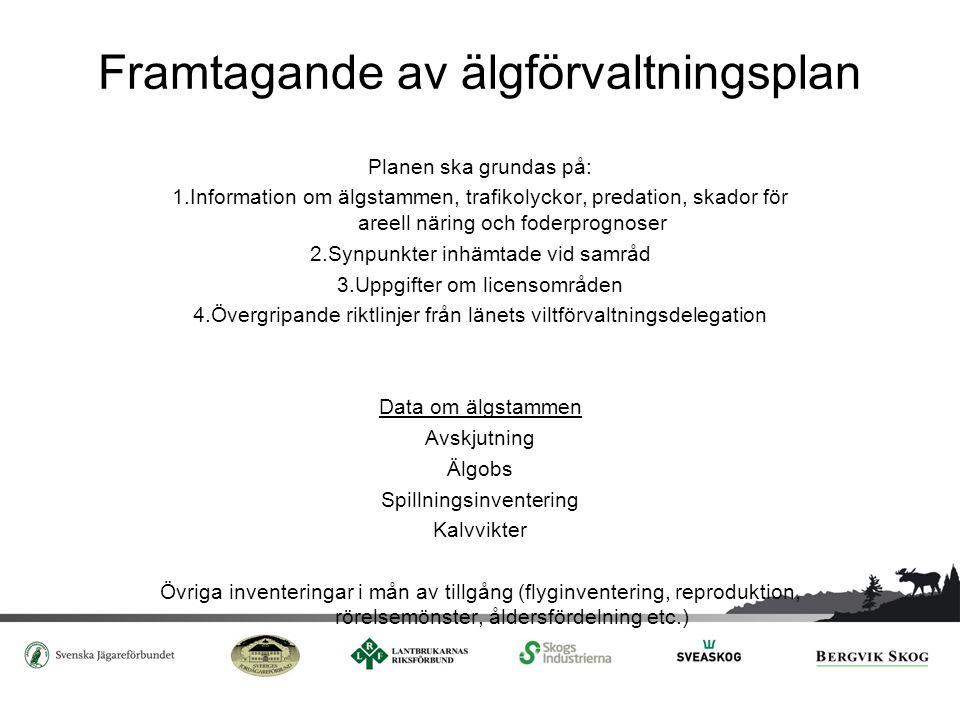 Framtagande av älgförvaltningsplan Planen ska grundas på: 1.Information om älgstammen, trafikolyckor, predation, skador för areell näring och foderpro