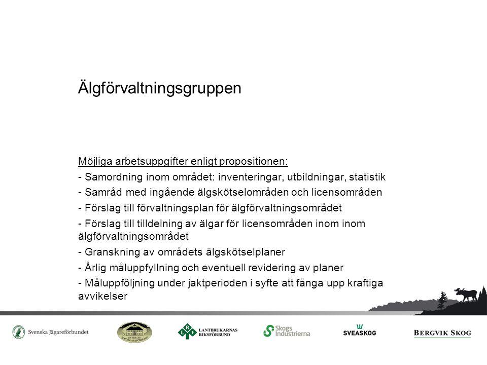 Älgskötselområdet Möjliga arbetsuppgifter enligt propositionen: - Krav på deltagande i samråd med älgförvaltningsgruppen och övriga jaktområden inom älgförvaltningsområdet - Förslag till skötselplan för eget område - Förslag till avskjutning av älgar mellan de jaktlag som ingår i älgskötselområdet - Årligt samråd med berörda markägare och jakträttshavare