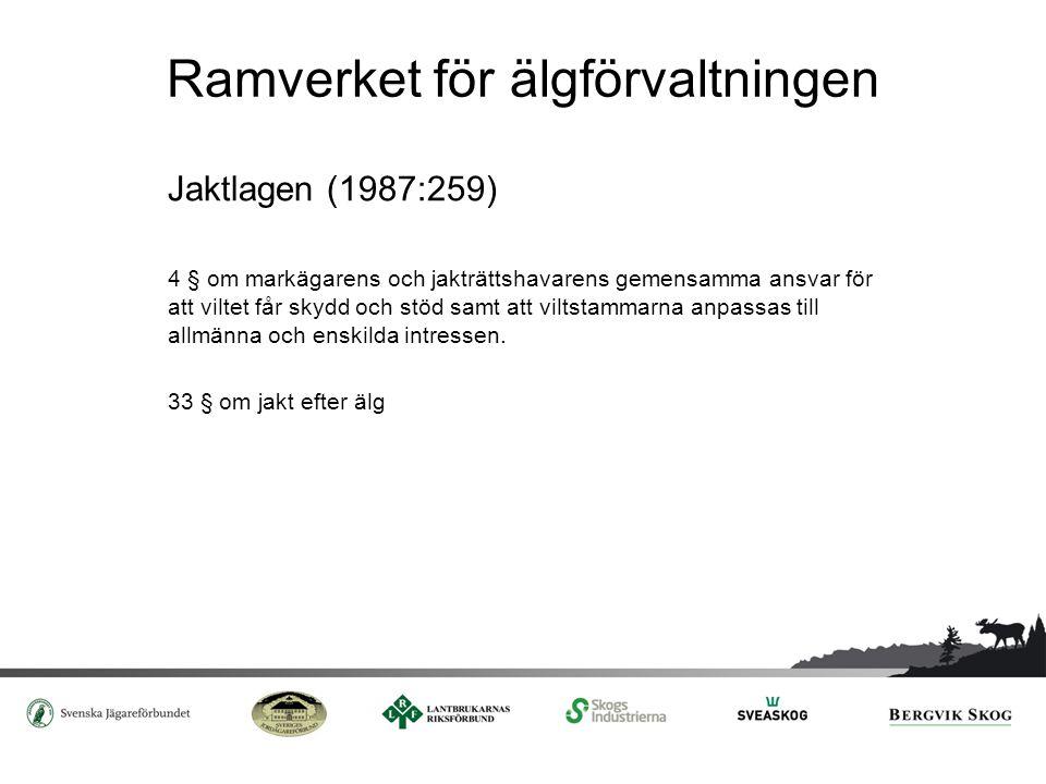 Ramverket för älgförvaltningen Jaktlagen (1987:259) 4 § om markägarens och jakträttshavarens gemensamma ansvar för att viltet får skydd och stöd samt