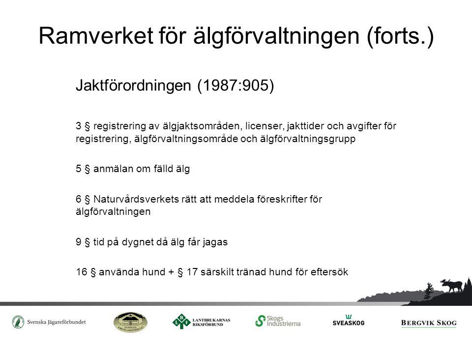 Ramverket för älgförvaltningen (forts.) Jaktförordningen (1987:905) 3 § registrering av älgjaktsområden, licenser, jakttider och avgifter för registre