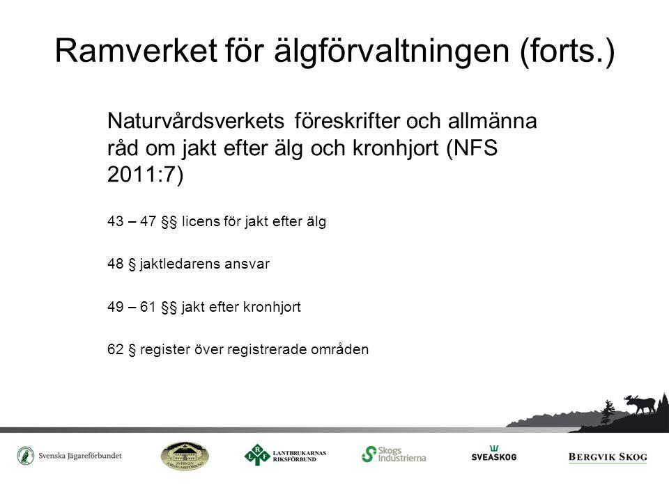 Ramverket för älgförvaltningen (forts.) Naturvårdsverkets föreskrifter och allmänna råd om jakt efter älg och kronhjort (NFS 2011:7) 43 – 47 §§ licens