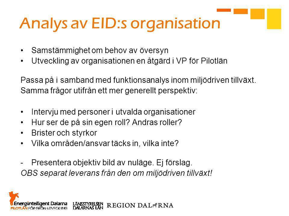 Analys av EID:s organisation •Samstämmighet om behov av översyn •Utveckling av organisationen en åtgärd i VP för Pilotlän Passa på i samband med funktionsanalys inom miljödriven tillväxt.