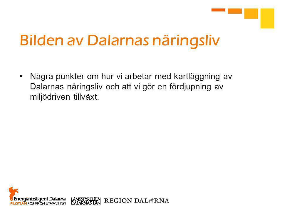 Bilden av Dalarnas näringsliv •Några punkter om hur vi arbetar med kartläggning av Dalarnas näringsliv och att vi gör en fördjupning av miljödriven tillväxt.