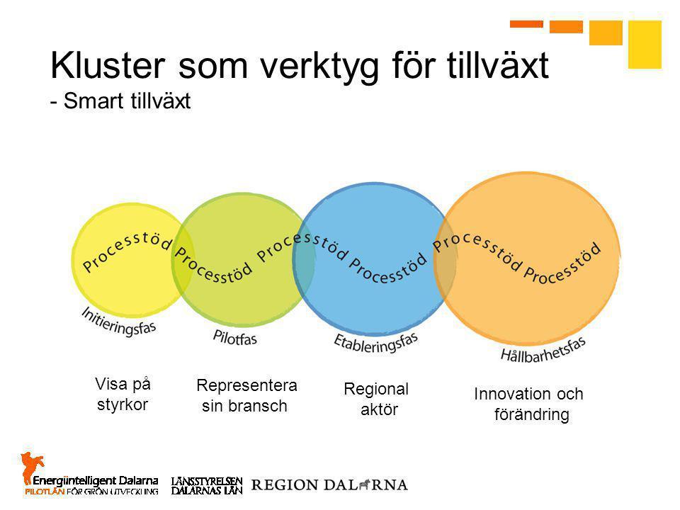 Kluster som verktyg för tillväxt - Smart tillväxt Visa på styrkor Representera sin bransch Regional aktör Innovation och förändring