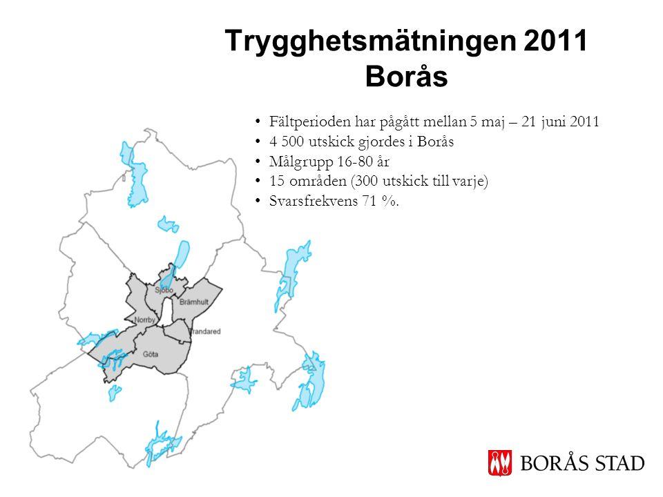 Trygghetsmätningen 2011 Borås • Fältperioden har pågått mellan 5 maj – 21 juni 2011 • 4 500 utskick gjordes i Borås • Målgrupp 16-80 år • 15 områden (