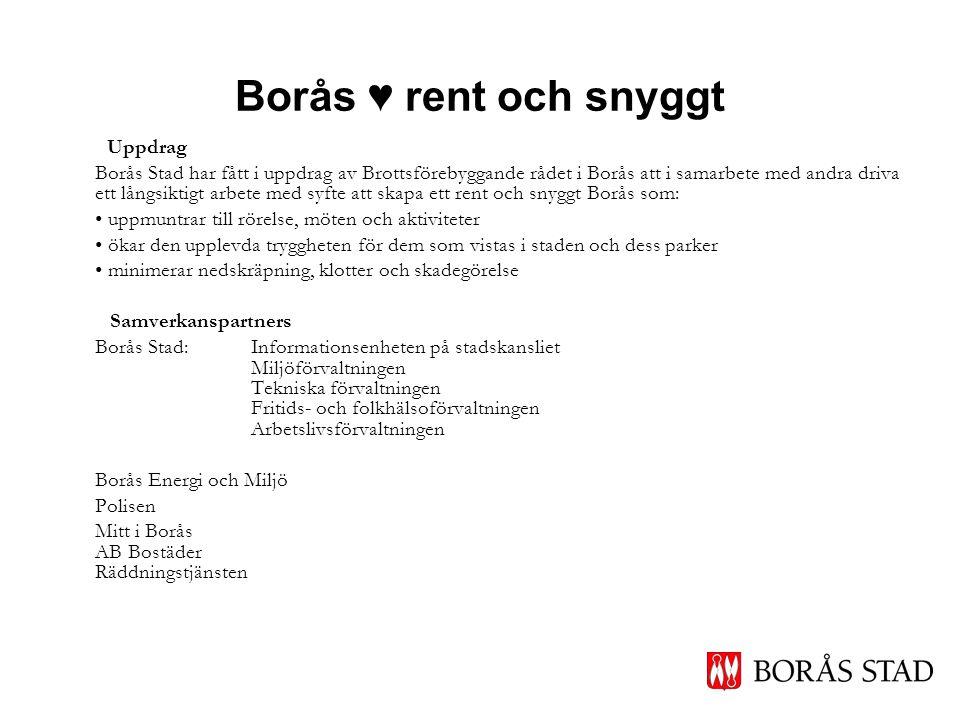 Borås ♥ rent och snyggt Uppdrag Borås Stad har fått i uppdrag av Brottsförebyggande rådet i Borås att i samarbete med andra driva ett långsiktigt arbe
