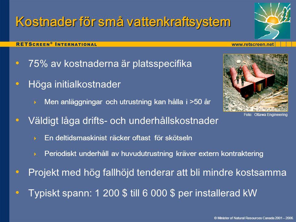 Kostnader för små vattenkraftsystem • • 75% av kostnaderna är platsspecifika • • Höga initialkostnader  Men anläggningar och utrustning kan hålla i >50 år • • Väldigt låga drifts- och underhållskostnader  En deltidsmaskinist räcker oftast för skötseln  Periodiskt underhåll av huvudutrustning kräver extern kontraktering • • Projekt med hög fallhöjd tenderar att bli mindre kostsamma • • Typiskt spann: 1 200 $ till 6 000 $ per installerad kW Foto: Ottawa Engineering © Minister of Natural Resources Canada 2001 – 2006.